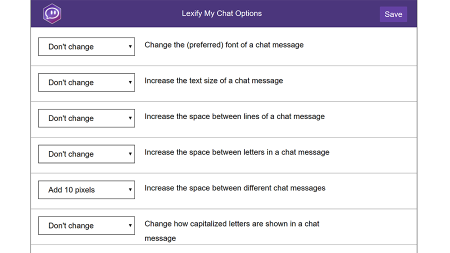 A screenshot of several options of the Lexify My Chat Chrome extension for Twitch
